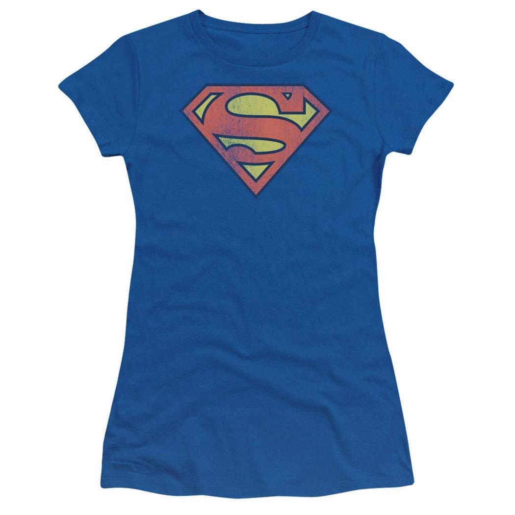 Popfunk Superman Logo Shield Distressed Junior's Teen Girls T Shirt & Stickers