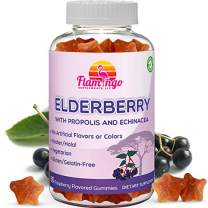 Elderberry Gummies Enhanced with Vitamin C, Propolis, Echinacea for Kids and Adults. No Gelatin - Kosher and Halal. Raspberry Flavor. 60 Count