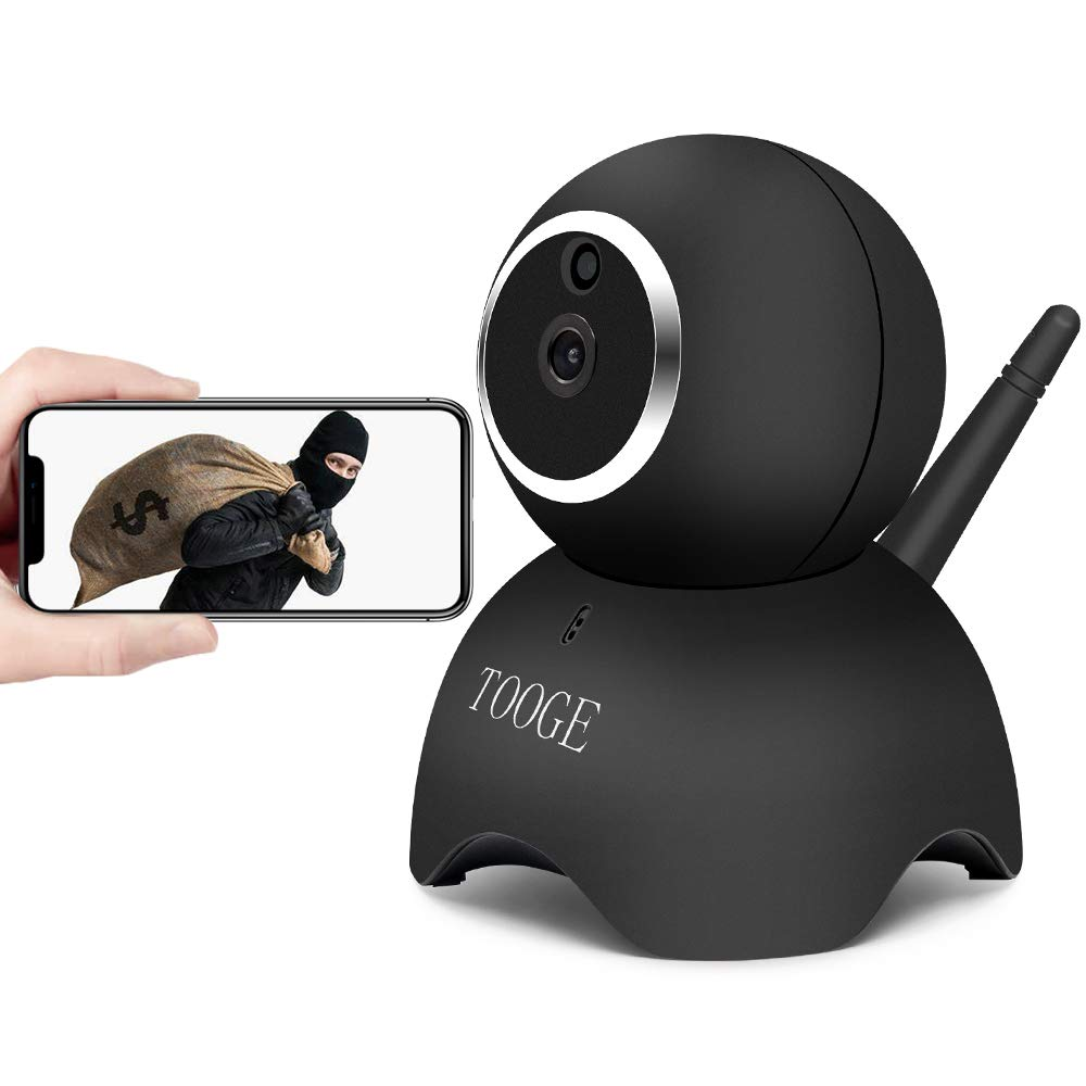 TOOGE WiFi Dog Pet Camera Wireless Security Camera FHD Home Security Indoor Camera with Night Vision 2-Way Audio Motion Detection (Black)