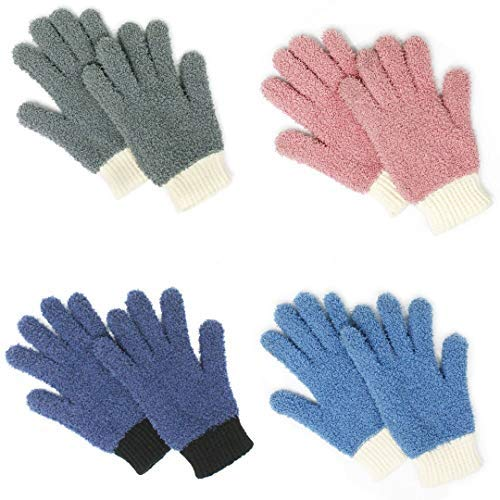 MIG4U Microfiber dusting Gloves Clean Hard-to-Reach Places Car Detailing Blind Cleaning Highly aborbent Lint Free Multicolor 4prs S/M