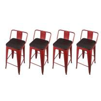 GIA 30-Inch Low-Back Bar Height Stool, 4-Pack, Red/Dark Wood Seat