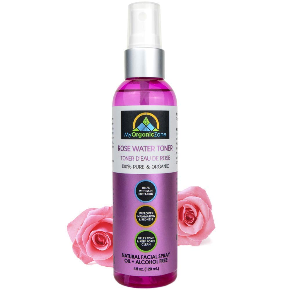 Rose Water Toner for Skin, Face & Hair, Pure Moroccan Rosewater Distilled from Rosa Damascena, Natural Organic Mist with Hydrating Benefits, Dry Skin, Tenderness and Redness (4 fl.oz./120 ml)