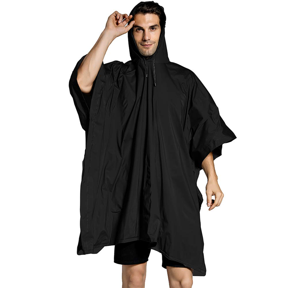 Rain Poncho Rain Coat, Jacket Hooded Waterproof for Adults Outdoor Sports Cloak Emergency Gear, Super Waterproof and Breathable for Theme Park, Hiking, Camping or Traveling
