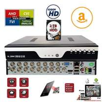 Evertech 16 Channel H.264 HD Standalone DVR 4in1 TVI AHD CVI Analog Easy Remote Access CCTV Home Office Security Surveillance Video Recorder with 2TB Hard Drive Included