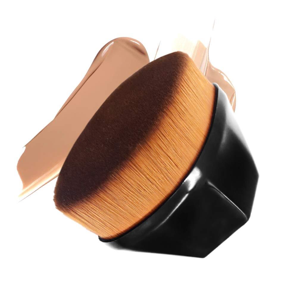 Foundation Brush Premium Kabuki Makeup Brush Flat Top Soft Silky Synthetic Fiber Brush Face Blush Professional for Liquid Foundation Cream Powder Makeup Best Brush For Long Lasting Foundation(Black)