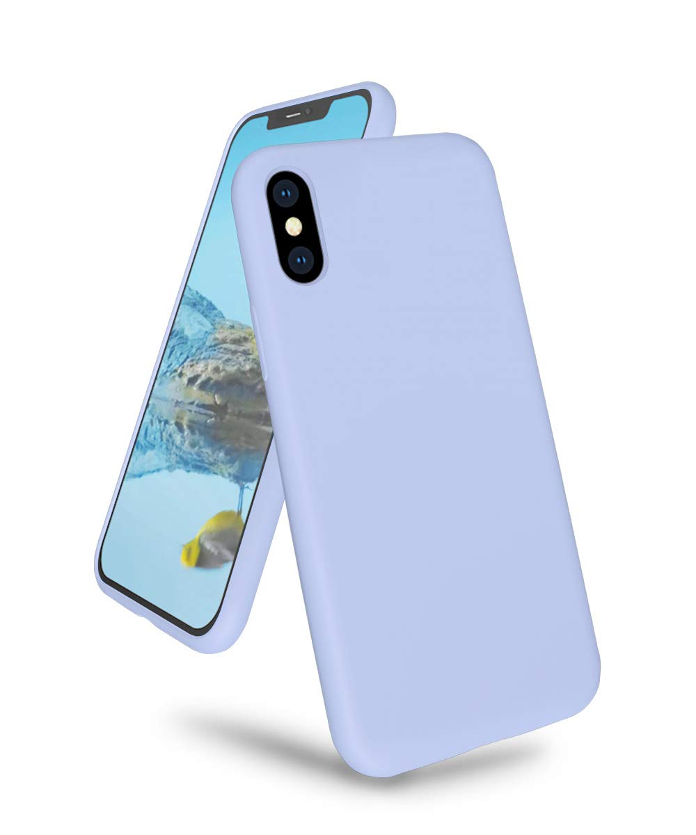 "K TOMOTO Phone Case for iPhone Xs Max, Ultra Slim Full Body Liquid Silicone Gel Rubber Shockproof Protective Case with Soft Microfiber Cloth Lining Cover for iPhone Xs Max 6.5"", Light Purple"