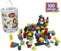 Right Track Toys Wooden Blocks - 100 Pc Wood Building Block Set with Container (Rainbow Colored) - 100% Real Wood in 7 Colors and 14 Shapes
