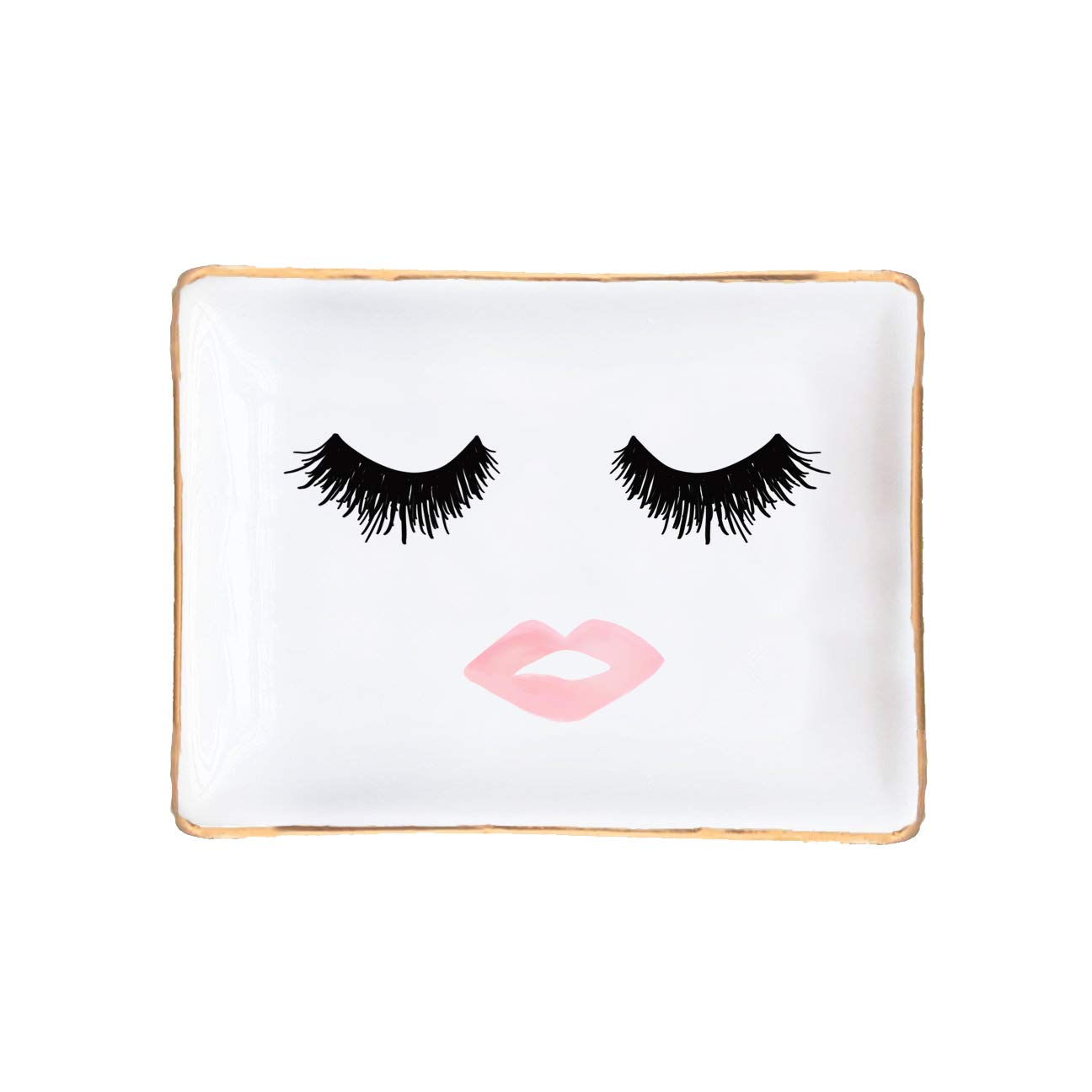 Eyelashes and Lips Face Ceramic Jewelry Dish | Gift for Her Pink and Gold Office Decor Lashes Makeup Cosmetic Bridesmaid Organizer Trinket Tray Small Eyelash Desk Accessories Hand Drawn