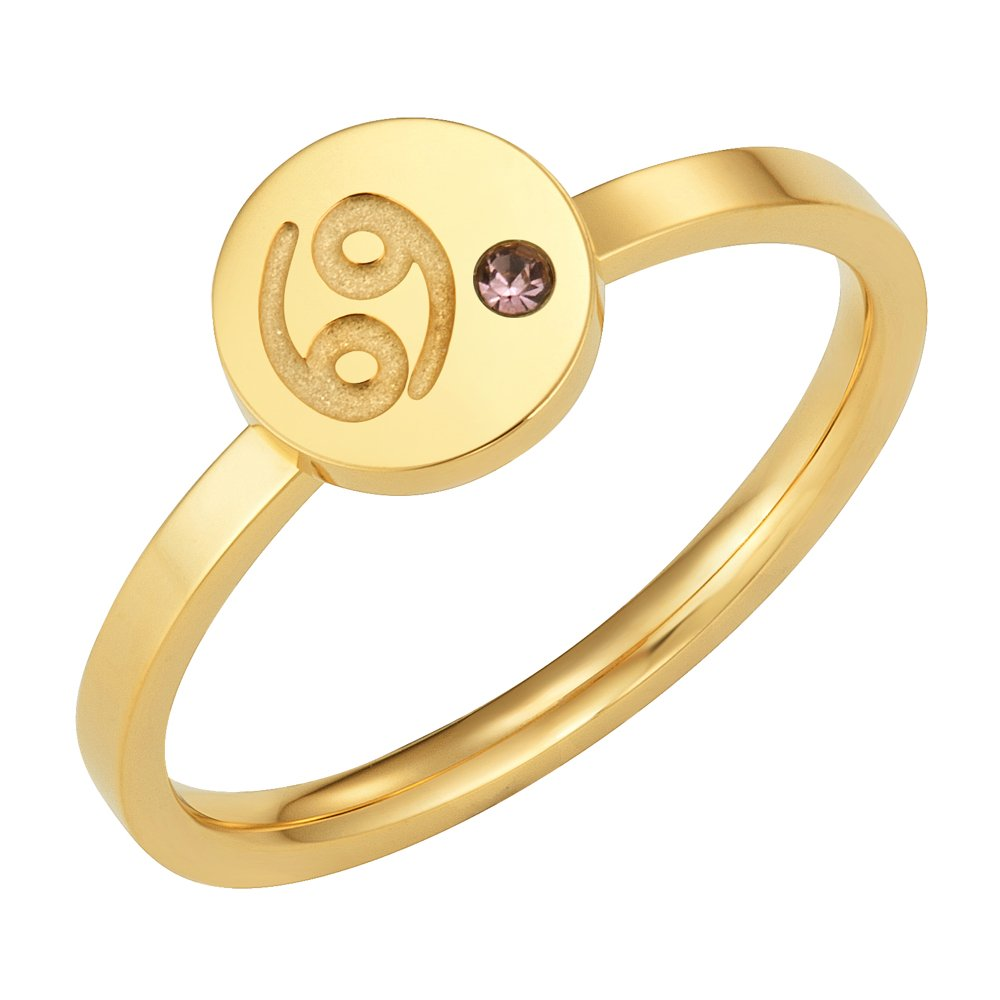 Taylor & Vine Star Signs Cancer Horoscope Ring with CZ Gem Birth Stone, Gold Tone