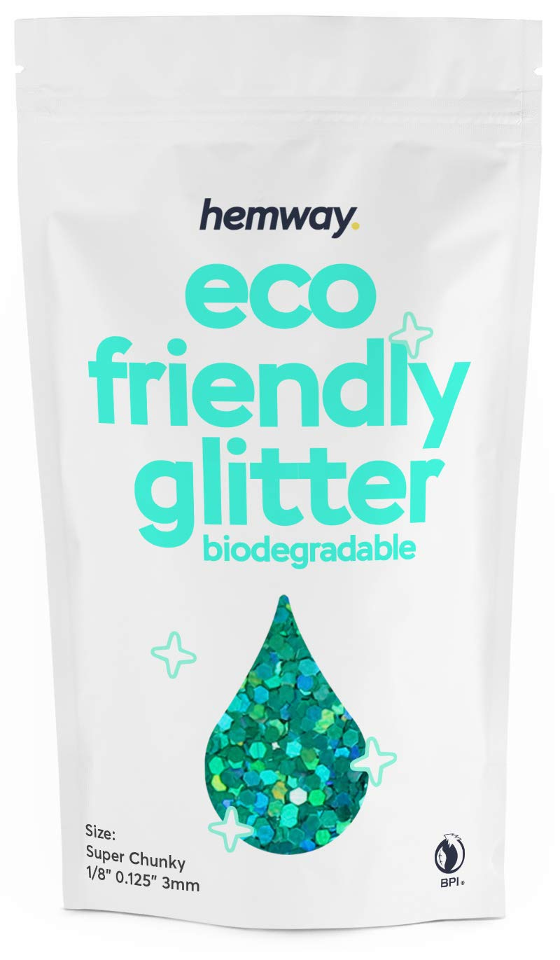 """Hemway Eco Friendly Biodegradable Glitter 100g / 3.5oz Bio Cosmetic Safe Sparkle Vegan For Face, Eyeshadow, Body, Hair, Nail And Festival Makeup, Craft - 1/8"""" 0.125"""" 3mm - Turquoise Holo"""