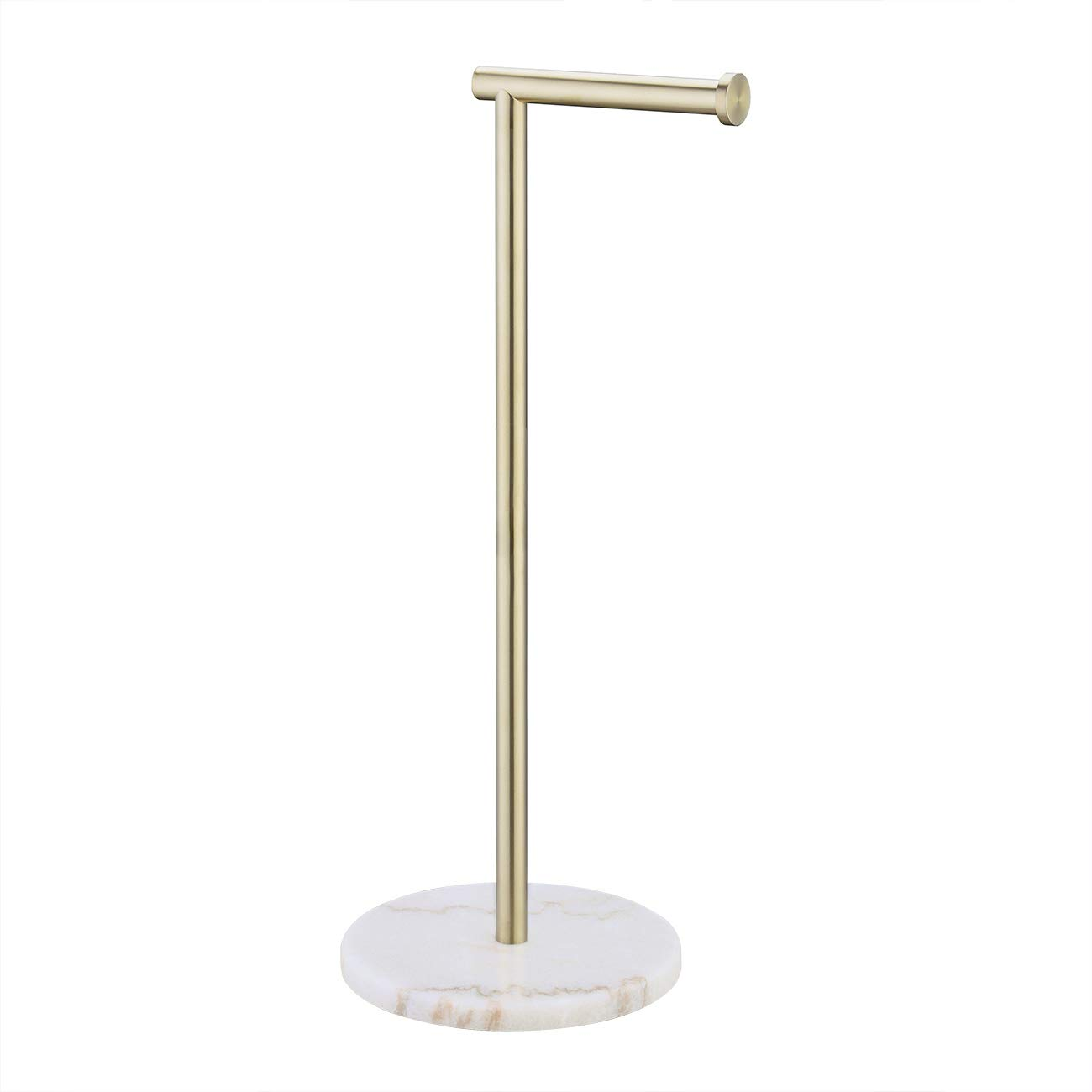 KES Gold Toilet Paper Holder Stand Tissue Roll Holder with Modern White Marble Base, SUS304 Stainless Steel Brushed Brass Finish BPH284S1-BZ