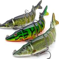 "XFISHMAN Northern-Pike-Lures-Multi-Jointed-Swimbaits-Fishing-Lure 5"" 8"" 12"" inch for Musky Lake Trout Fishing Tackle"
