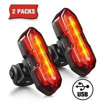 TOPELEK Bike Lights, Bright LED Bicycle Light, Bike Rear Light, USB Rechargeable Waterproof Bright Bike Taillights2 Packs