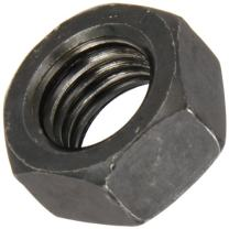 Steel Hex Nut, Plain Finish, Class 10, DIN 934, Metric, M6-1 Thread Size, 10 mm Width Across Flats, 5 mm Thick (Pack of 100)