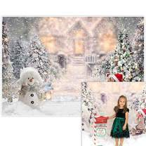 Allenjoy 8x6ft Winter Christmas Backdrop for Photography Snowman Pine Tree Snowflake Portrait White Background Newborn 1st Birthday Children Baby Shower Party Decorations Photo Shoot Props Supplies
