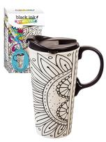 Burst of Color Just Add Color Ceramic Travel Cup - 4 x 5 x 7 Inches