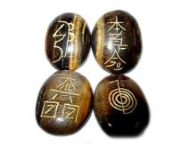 Jet Tiger Eye Oval Usui Reiki Healing Set Chakra Balancing Meditation Gemstone Free Booklet Crystal Therapy Image is JUST A Reference.