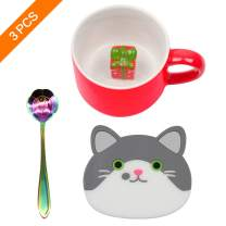 Ozazuco 3D Cute Mugs with Cute Figurine Inside, 3D Funny Coffee Mug Ceramic Coffee Cups +1pcs Coffee Tea Spoon and Cat Cup Mat,Cute Coffee Mug Gift for Friends and Family