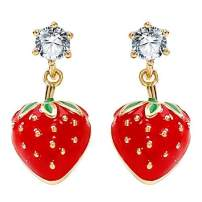 Jewever 925 Sterling Silver Gold Plated Strawberry Lovely Studs Earrings Dropping Glaze Earring for Women Jewelry Gift