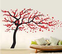 Fymural Plum Blossom Tree Wall Sticker Vinyl Removable for Livingroom Kid Baby Nursery Home Mural Paper DIY Decals 102.4x66.9,Black+Red