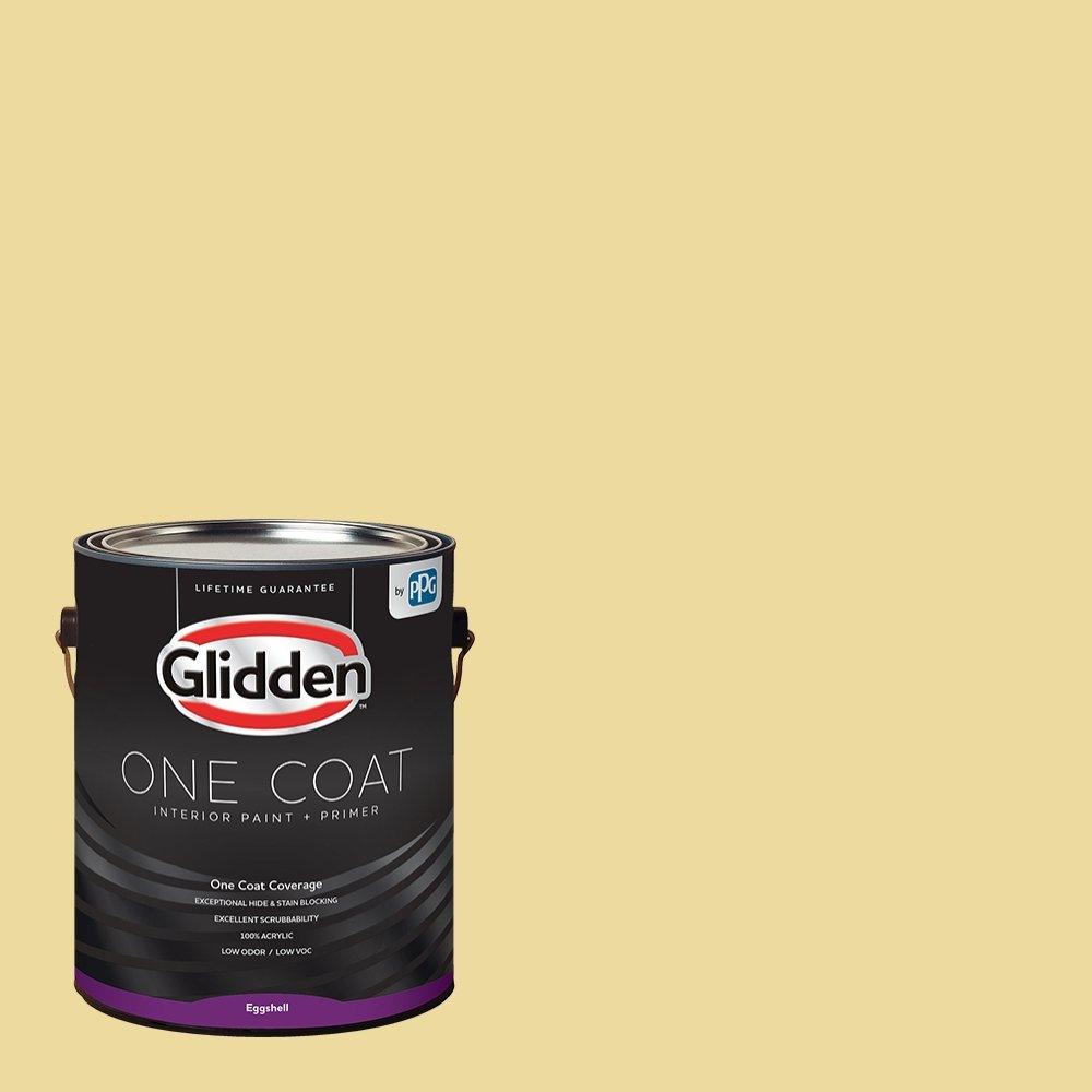 Glidden Interior Paint + Primer: Yellow Interior Paint /Demeter, One Coat, Eggshell, 1 Gallon
