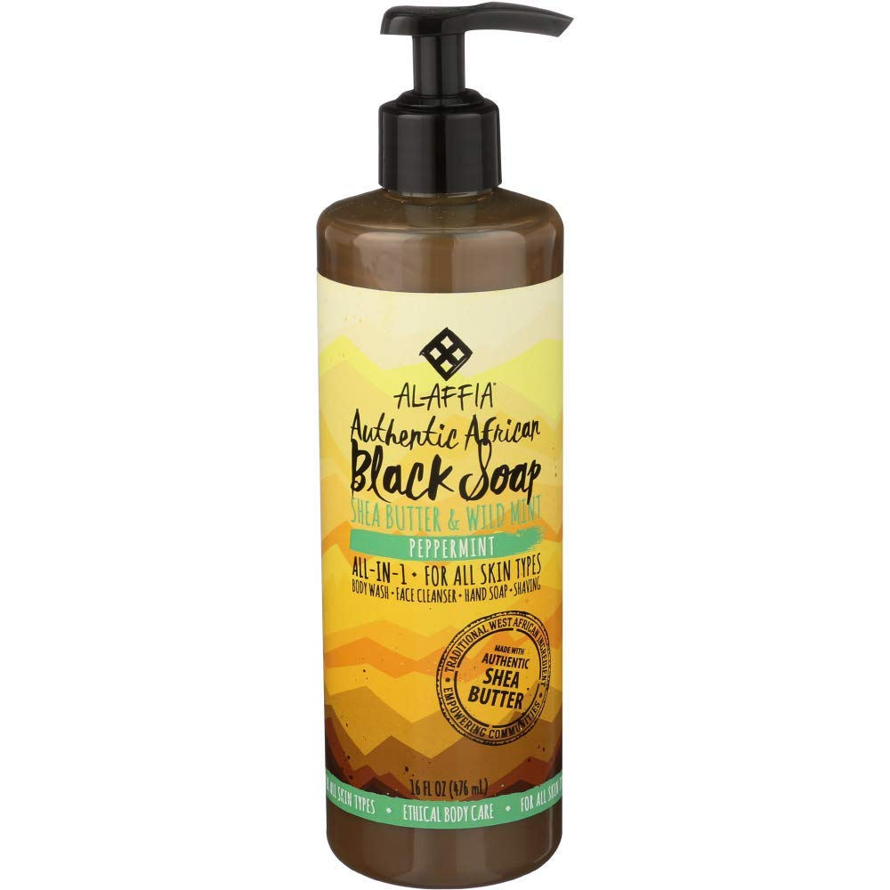Alaffia, Authentic African Black Soap Liquid, All-in-One Body Wash for All Skin Types, Peppermint, Ethically Traded, Non-GMO, 16 oz