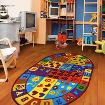 "Furnish My Place 740 ABC With Numbers 6'6""x9'2"" Oval ABC Area Rug for Kids, Educational Alphabet Letter & Numbers, Anti-Skid Rubber Backing, Multicolor"