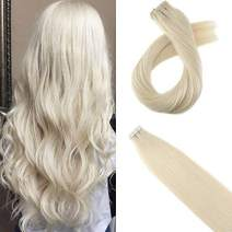 Moresoo Unprocessed Real Human Hair 20inch Seamless Skin Weft Adhesive Hair Extensions Color #60 Platinum BlondeTape in Remy Human Hair Extensions 20pcs/50g
