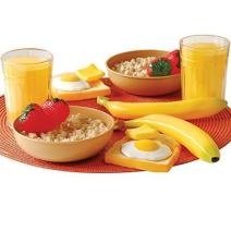Constructive Playthings Plastic Healthy Breakfast Food Toy Set For Two, Set of 16