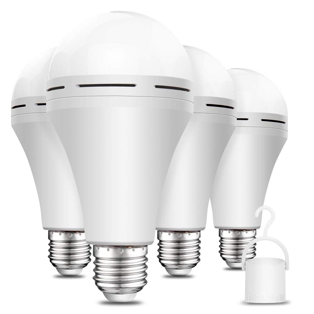 4 Pack Rechargeable Emergency LED Bulb 1200mAh 15W 80W Equivalent 6000K Battery Operated Light Bulb E27 with Hook for Power Outage Camping Tent Hurricane Emergency Lights for Home Power Failure