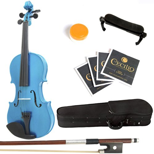 Mendini By Cecilio Solid Wood Violin 1/2 Size, Blue- Starter Kit w/Extra Strings Hard Case, Rosin, Bow - Stringed Musical Instruments For Kids & Adults