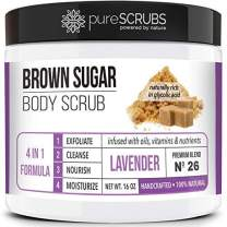 pureSCRUBS Premium Organic Brown Sugar LAVENDER FACE & BODY SCRUB Set - Large 16oz, Infused With Organic Essential Oils & Nutrients + FREE Wooden Spoon, Loofah & Mini Exfoliating Bar Soap