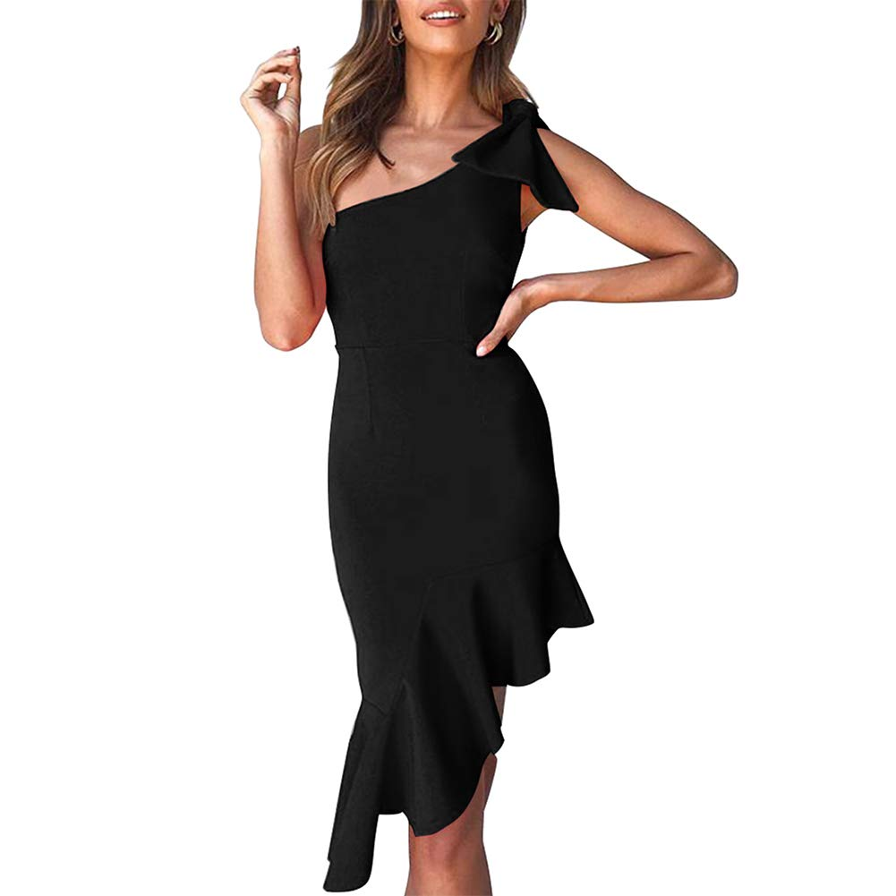 Womens Sexy One Shoulder Backless Midi Bodycon Summer Party Dress Black