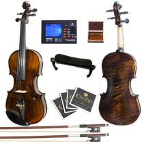 Mendini MV500+92D Flamed 1-Piece Back Solid Wood Violin with Case, Tuner, Shoulder Rest, Bow, Rosin, Bridge and Strings (Size: 3/4)