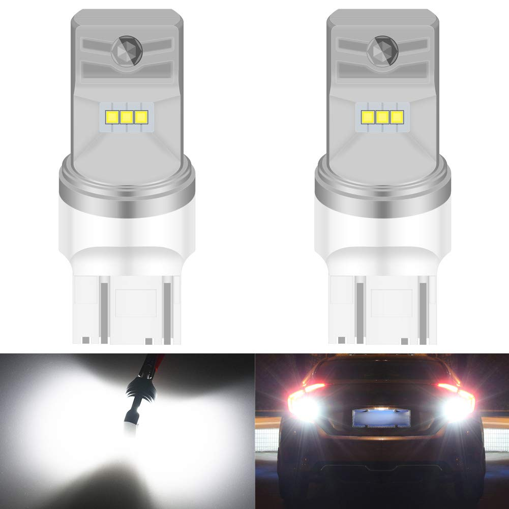 KATUR 7443 W21/5W 7515 T20 LED Bulb High Power CSP Chips Extremely Bright 1600 Lumens 6500K Xenon White Replace for Back up Reverse Brake Tail Turn Signal Lights,Pack of 2