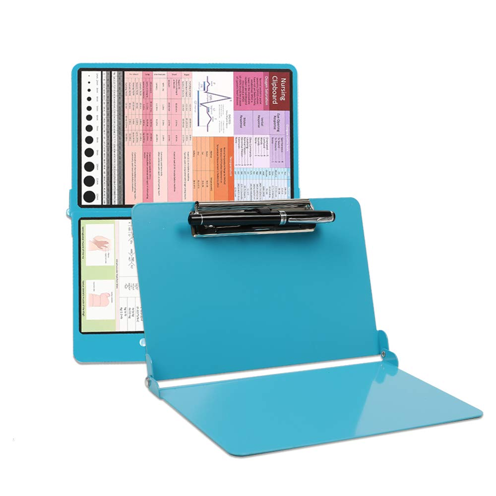 Durable Aluminum Medical & Nursing Edition Clipboard Foldable, Lightweight, Perfect Size for Scrub Pocket, for Medical Student/Nurse/Doctor, Extra 4 Stickers & Pen Holder for Easy Check & Use