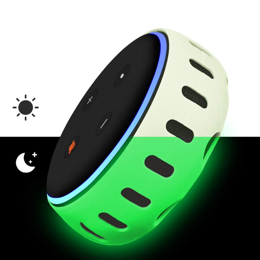 Silicone Case for All New Echo Dot 3rd Gen (Green Glow)