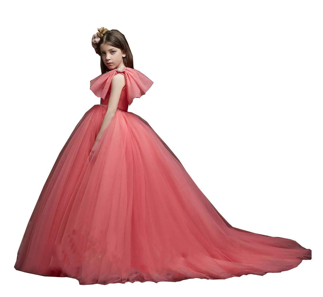 HEVECI One Shoulder Pageant Dresses for Girls Tulle Junior Bridesmaid Flower Girl Dress for Wedding Big Bows