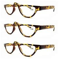 AMILLET 3 Pack Full Frame Small Cat Eye Reading Glasses for Women Men 1.0 Half Moon Frame Readers Tortoise +1.00