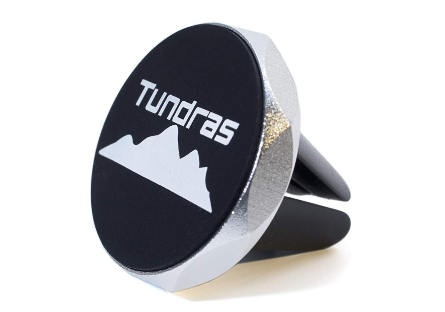 Tundras Universal Magnetic Phone Car Mount, easily clip on to car vent, compatible with iPhone, Android phones, Galaxy GPS & tablet devices. Car Phone Holder comes with TWO Magnets, Black with Silver