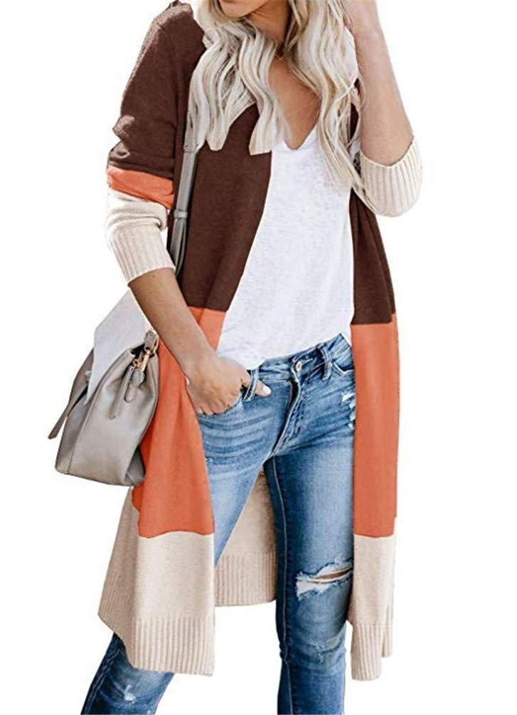 Nicetage Womens Open Front Long Cardigan Colorblock Long Sleeve Loose Lightweight Knit Sweaters