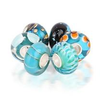 Light Blue Nautical Murano Glass Mix Of 6 Sterling Silver Spacer Bead Fits European Charm Bracelet For Women For Teen