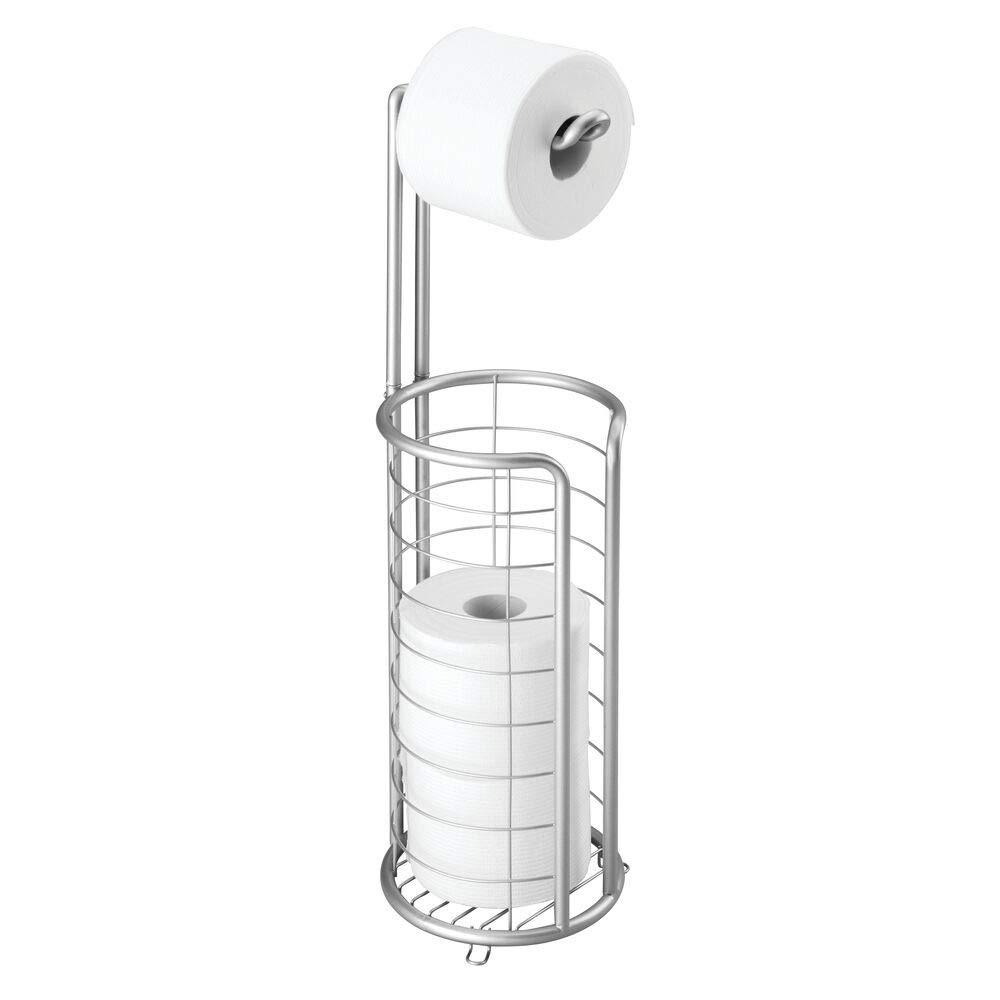 mDesign Modern Metal Freestanding Toilet Paper Roll Holder Stand and Dispenser with Storage for 3 Rolls of Reserve Toilet Tissue - for Bathroom Storage Organizing - Holds Mega Rolls - Chrome
