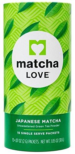 Matcha Love Japanese Matcha Unsweetened Green Tea Powder 15 Sticks per 1.5 oz Tubes (Pack of 3)