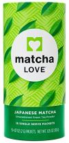 Matcha Love Japanese Matcha Unsweetened Green Tea Powder 15 Sticks per 1.5 oz Tubes (Pack of 3)