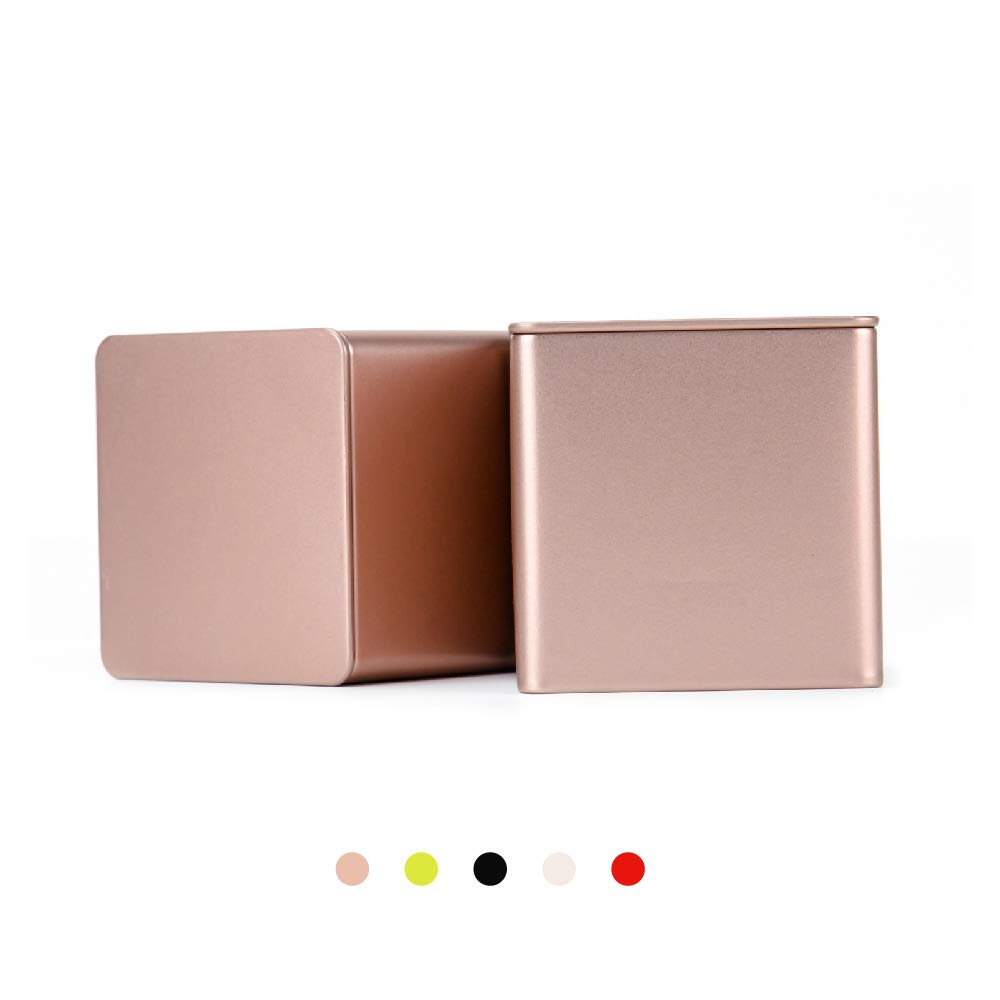 Tianhui Colorful Square Tin Can Empty Cube Steel Box Storage Container for Treats, Gifts, Favors, Loose Tea, Coffee and Crafts, Mini Portable Small Storage Kit (Gold, 2-Small)