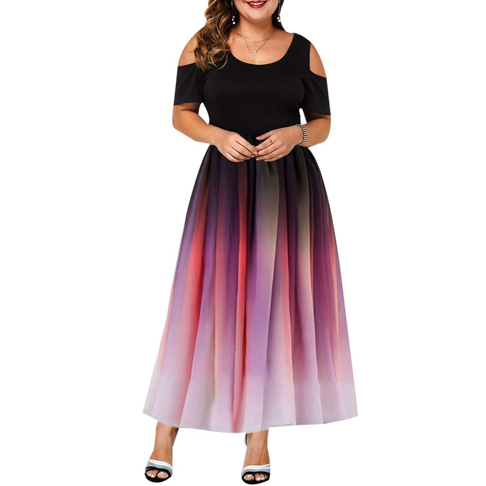 PYL Women's Plus Size Gradient Print Maxi Long Dress Cold Shoulder Short Sleeve A-Line Flared Cocktail Party Dress