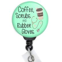Coffee Scrubs and Rubber Gloves Retractable Badge Reel with Swing Clip and 36 Inch Cord