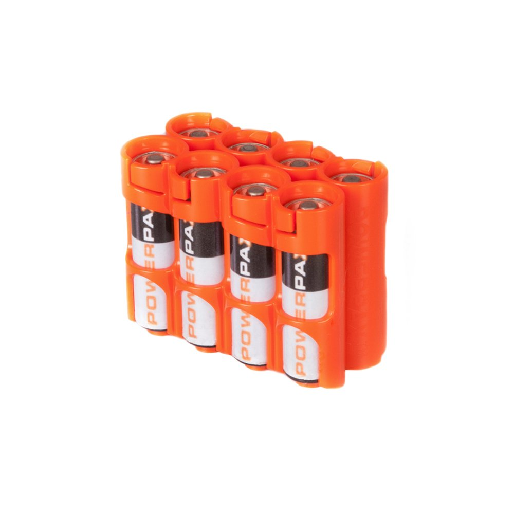 Storacell by Powerpax AA Battery Caddy, Orange, Holds 8 Batteries