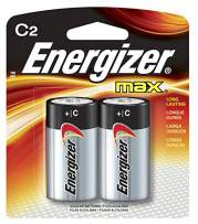 Energizer E93BP2 MAX Alkaline Batteries, C, 2 Batteries/Pack
